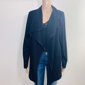 Sonny Taylor Open Front Black Cardigan Duster L